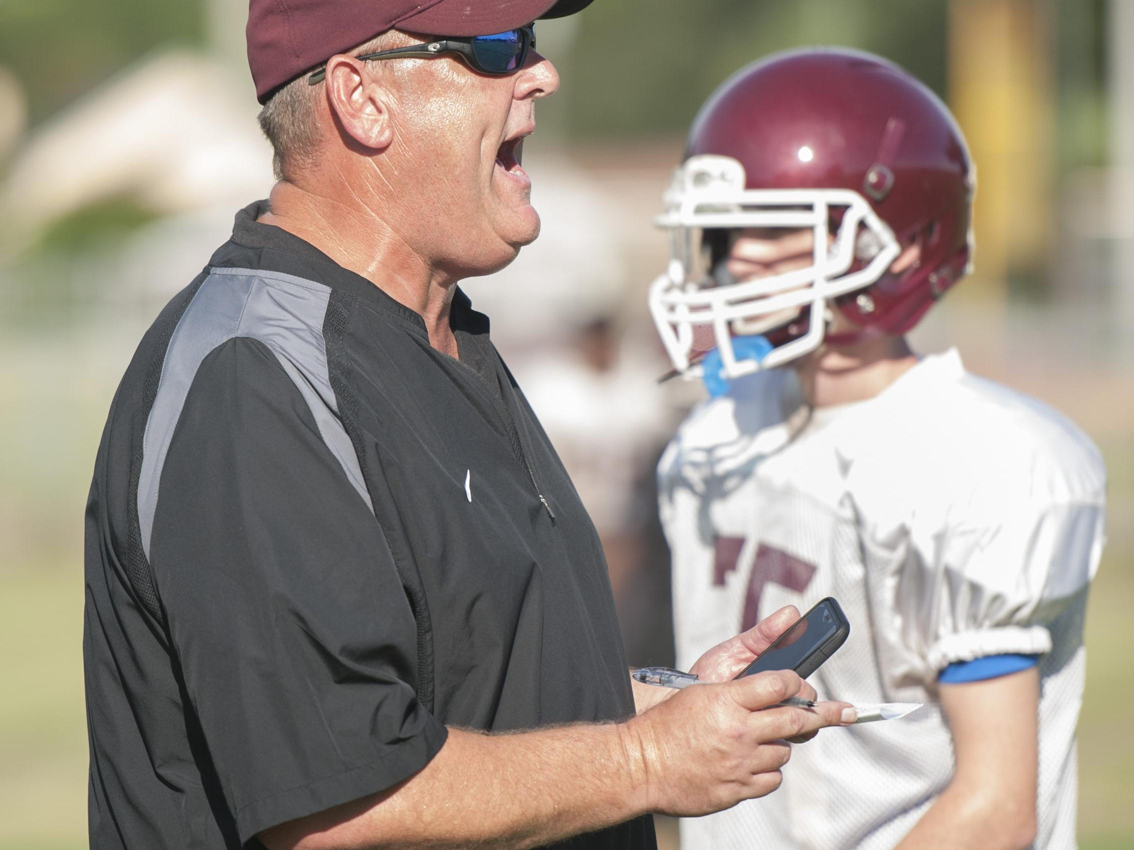 Head coach Mike Mincy during football practice at Pensacola High School in Pensacola, FL on Monday, August 15, 2016.