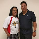 Coach Manny Tagle, left, eked out a 1 pin victory over his star pupil Jim Pinaula, right, to earn the title of July Senior Bowler.