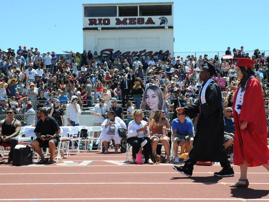 Rio Mesa High School graduation,approximately 426 students graduating at the school's football field.