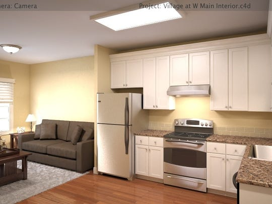 A rendering of a kitchen at the Village at West Main.