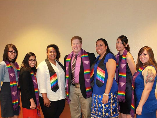 New Mexico State University's LGBT+ Programs hosts the annual Rainbow Graduation Dinner. Pictured are graduates at a previous ceremony.