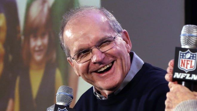 Jack Harbaugh laughs during a news conference Jan. 30, 2013, in New Orleans.