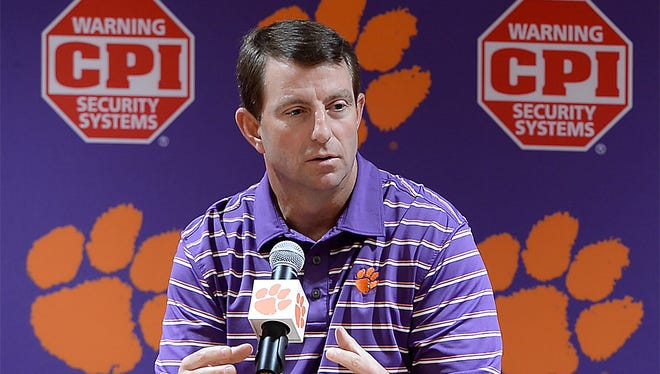 Clemson head coach Dabo Swinney during a press conference on Wednesday, March 1, 2017.