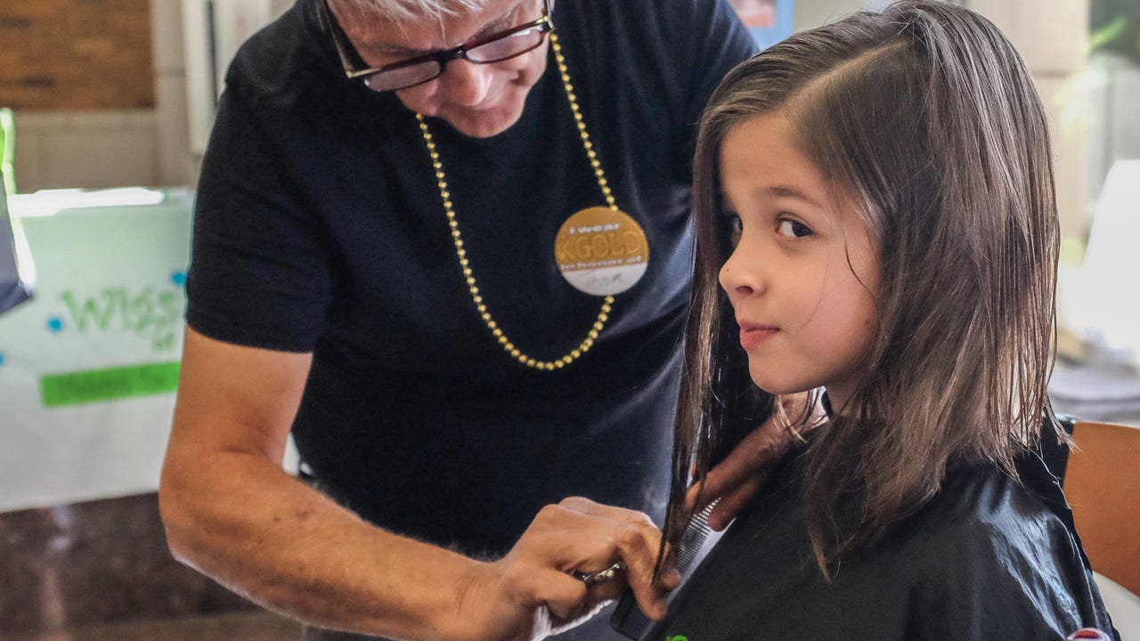 Hair donations nearly triple over past year at the Sparrow Children's Center Hair-a-Thon.