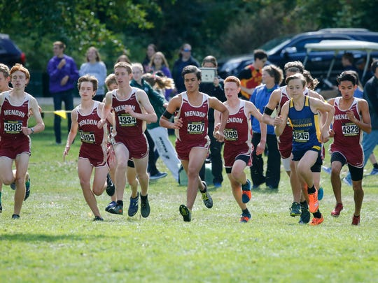 Mendon runners take off at the start of the Boys Seeded