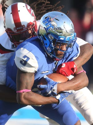 MTSU's Richie James (3) is looking to carry over his performance against Western Kentucky into Missouri and this time, come out with a win.