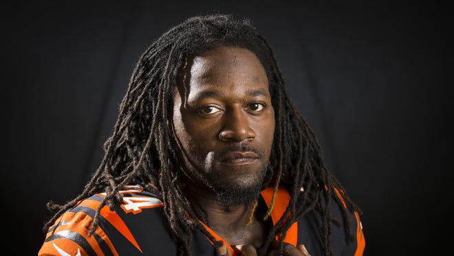 Cincinnati Bengals cornerback Adam Jones (24) poses for a portrait at Paul Brown Stadium in downtown Cincinnati on Monday, July 31, 2017.