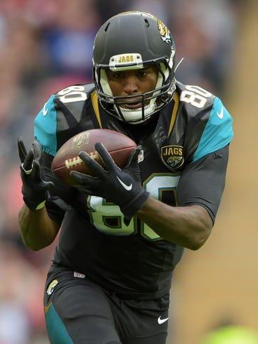 Jacksonville Jaguars tight end Julius Thomas (80) catches