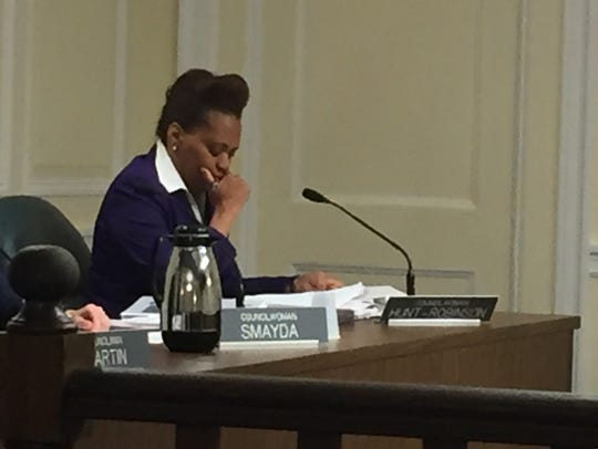 White Plains Councilwoman Nadine Hunt-Robinson voted