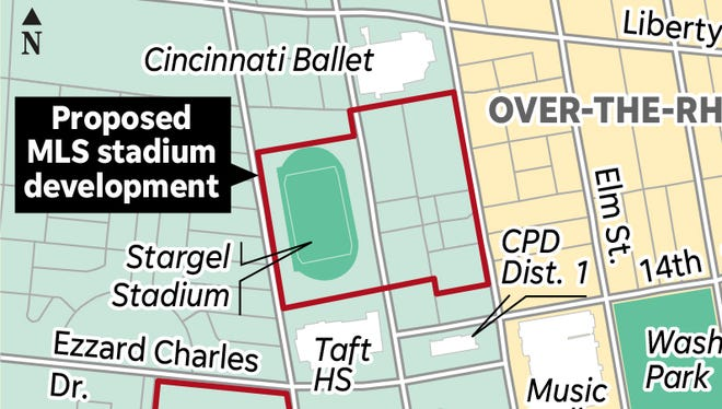 The proposed West End site of the FC Cincinnati soccer-specific stadium.