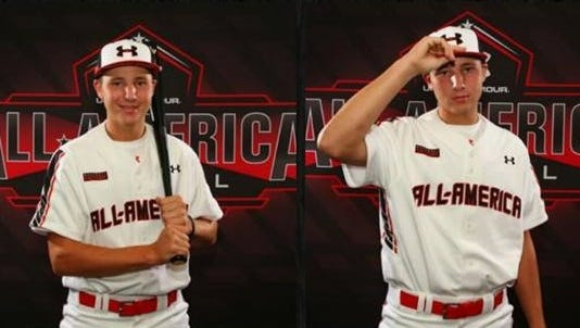 Smoky Mountain senior Cal Raleigh took part in a photo shoot for a Bowman brand baseball card on Wednesday in Chicago.