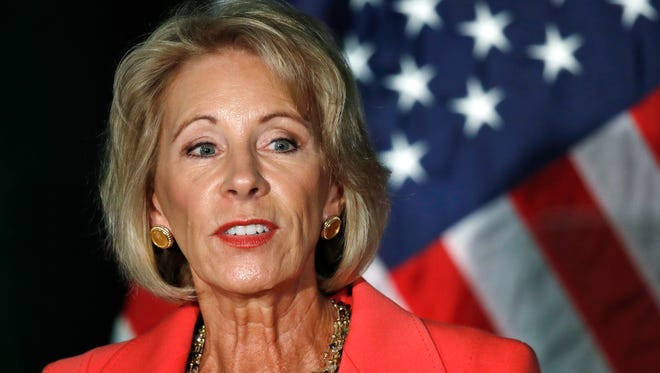 Betsy DeVos announces that there will be changes to campus sexual assault enforcement during a speech at George Mason University in Arlington, Va., on on Sept. 7, 2017.