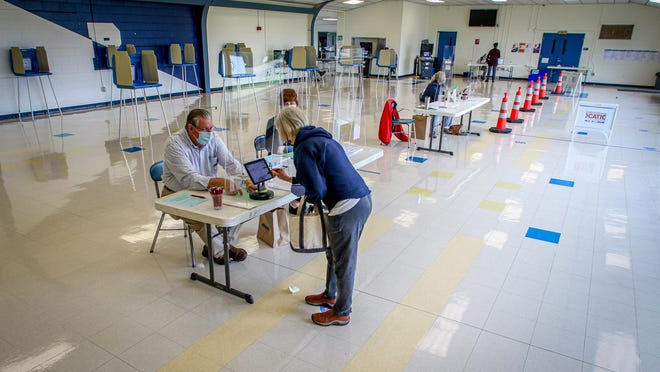Primary voting at Barrington High School.