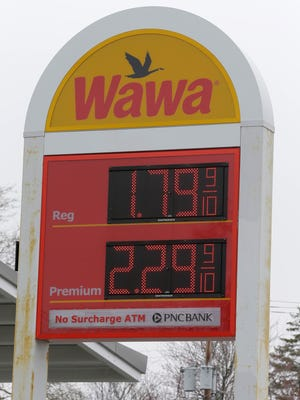 Gas prices at WaWa on the corner of Route 33 and Route 35 in Neptune, NJ Monday March 28, 2016.