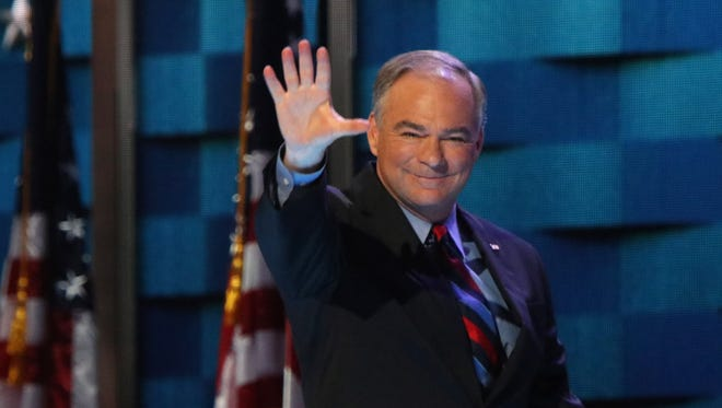 Democratic Nominee for Vice President Tim Kaine takes the stage at the Democratic National Convention in Philadelphia, PA,  Wednesday, July 27, 2016.