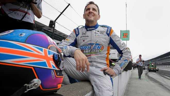 Andretti Autosport IndyCar driver Stefan Wilson (25) before practice for the Indianapolis 500 at the Indianapolis Motor Speedway on Sunday, May 21, 2018.