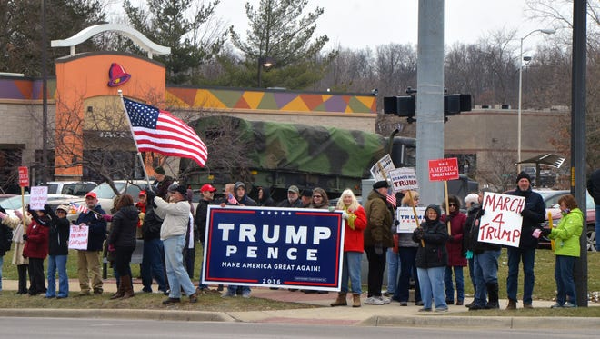 "Some 80 people attended the local ""March 4 Trump"" rally Saturday at the corners of Riverside Drive and Beckley Road."