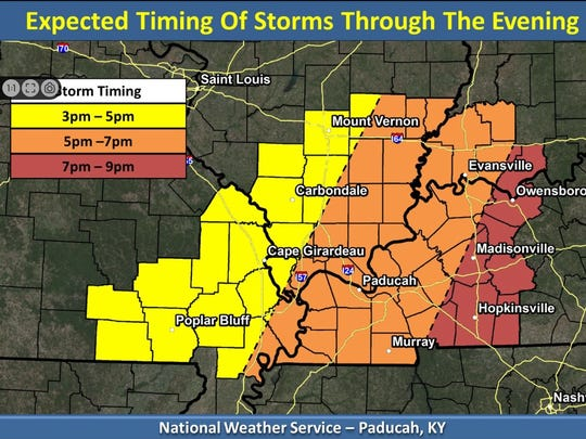 The timing of today's storm threat, as seen by the National Weather Service.