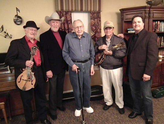 Bluegrass greats Jesse McReynolds, left, Doyle Lawson,