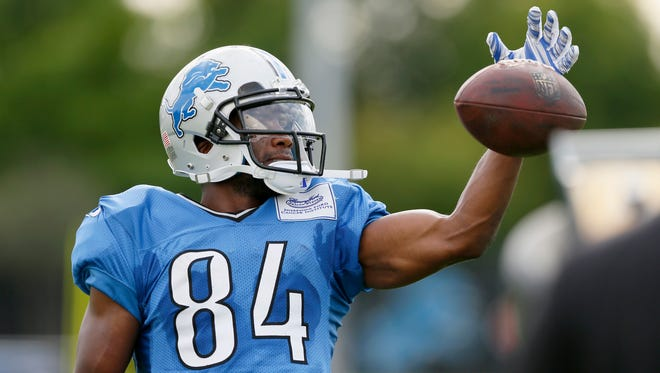 Detroit Lions wide receiver Ryan Broyles practices making one-handed catches Aug/ 7, 2015, in Allen Park.
