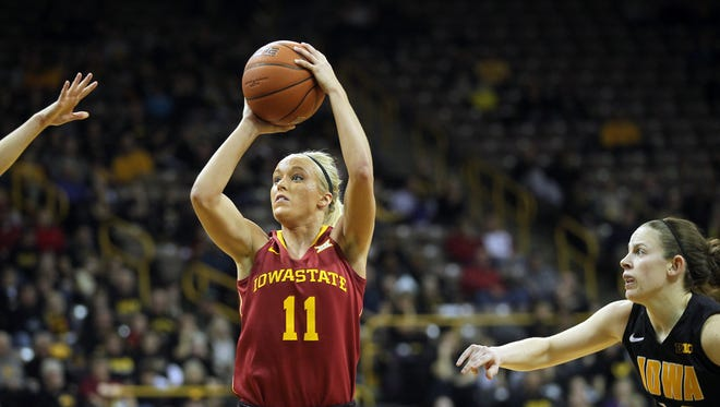 Iowa State's Jadda Buckley takes a shot during the Cyclones' game against Iowa at Carver-Hawkeye Arena in 2014.