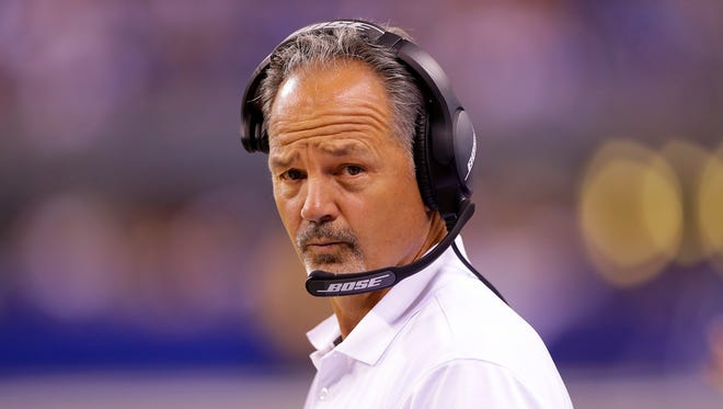 Indianapolis Colts head coach Chuck Pagano during the second half of an NFL football game Saturday, Aug. 27, 2015, at Lucas Oil Stadium.