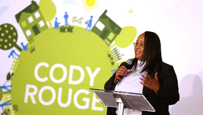 Kenyetta Campbell, executive director of Cody Rouge Community Action Alliance, unveils of a plan to transform the Cody Rouge community into a premiere Detroit neighborhood at Don Bosco Hall in Detroit on Wednesday, May 17, 2017.