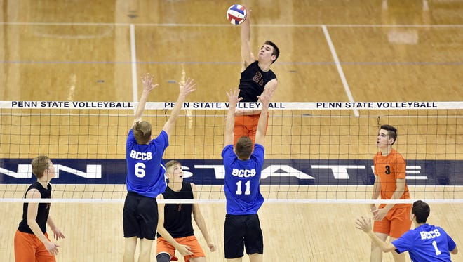 Northeastern's Cole Brillhart spikes the ball against Beaver County Christian in the second game of the PIAA Class 2A boys' volleyball championship match Saturday, June 10, 2017, at Penn State. Northeastern defeated Beaver County Christian 3-1 (25-13, 25-22, 21-25, 25-20) to win the Bobcats' fifth consecutive state title.