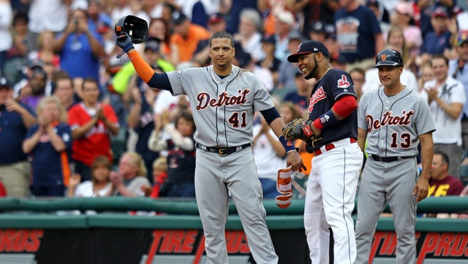 Tigers designated hitter Victor Martinez (41) reacts after collecting his 2,000th career hit against the Indians in the second inning at Progressive Field on Friday.