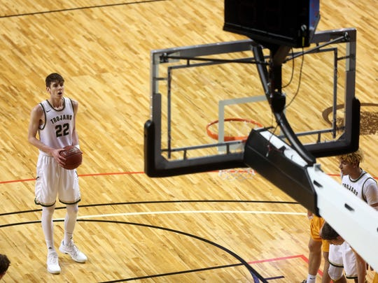 West High's Patrick McCaffery approaches the free throw