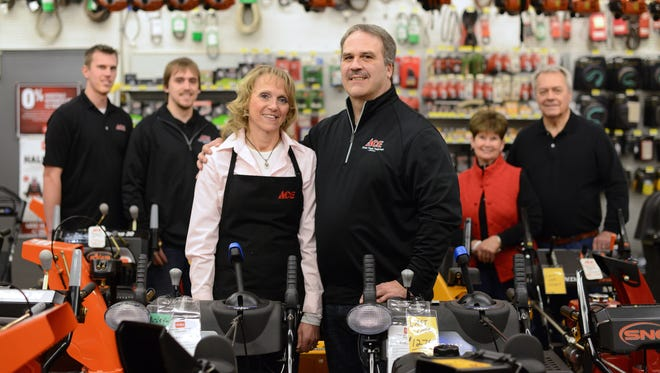 Three generations have worked at Kimps Ace Hardware in Howard. From left, Wesley, Clint, Laurie, Craig, Sally and Gary Kimp.