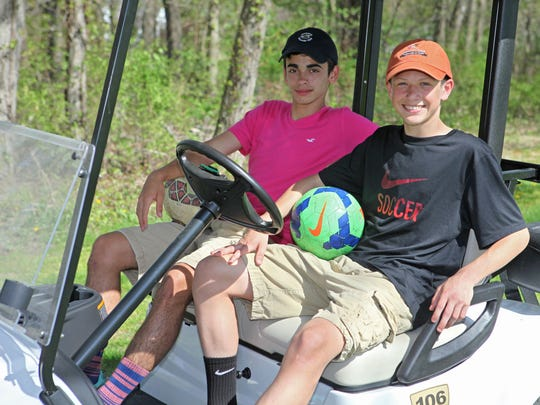 Anthony Germano, left, 15, and Zack Ymbras, 15, of