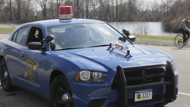 A Michigan State patrol car