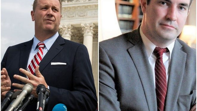 Republican incumbent, Eric Schmitt, and Democratic challenger, Rich Finneran.