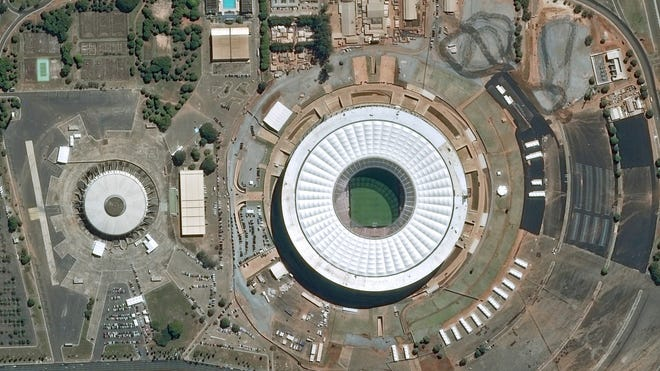 An aerial image of the newly built National stadium in Brasilia.
