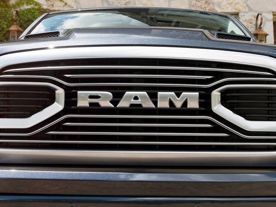 The grill on a 2018 Ram 1500 Limited Tungsten Edition.