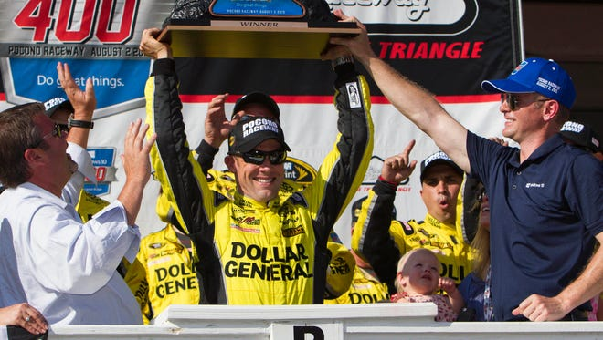 Matt Kenseth won his first Sprint Cup race at the 2.5-mile 'Tricky Triangle.'
