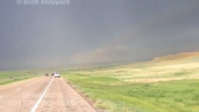 A screen shot from Sheppard's video shows the scene just seconds before he was hit by lightning.