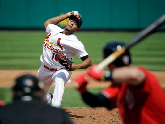 St. Louis Cardinals starting pitcher Carlos Martinez throws during the sixth inning of a baseball game against the Washington Nationals, Sunday, May 1, 2016, in St. Louis. (AP Photo/Jeff Roberson)