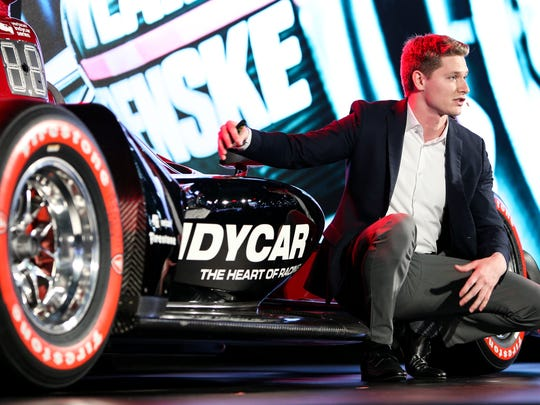 The reigning series champ Josef Newgarden helped introduce the new car to the world right here in Detroit.