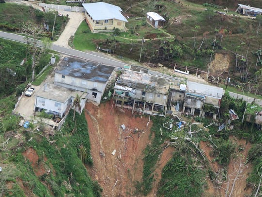 An aerial view shows damages caused by hurricane Maria