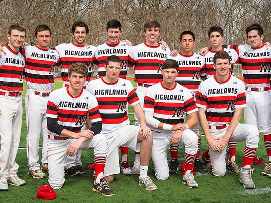 The 2016 Northern Highlands baseball team is stocked with 13 seniors. FRONT ROW, from left: Paul Mast, Hunter Abdalla, Noah Abdalla and Andrew Keenan. BACK ROW, from left: Liam Wilczynski, Tyler Shedler-McAvoy, Kyle Pensa, Nick Pirsos, Evan Knutzen, Matthew Dipasupil, Kieran Flynne, Greg Lomuti and Christian Tsadilas.