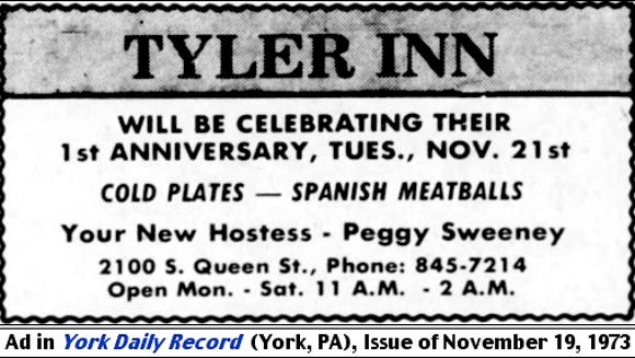 Tyler Inn ad, appearing in the November 19, 1973 issue of the York Daily Record