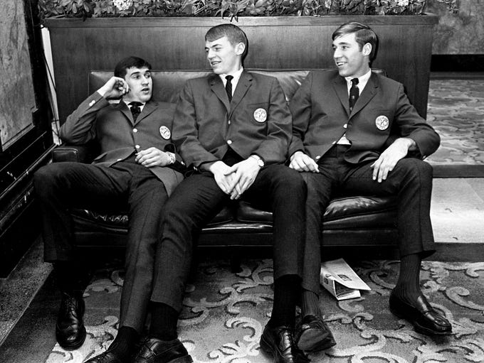 Mike Casey, left, Dan Issel and Mike Pratt, three sophomores