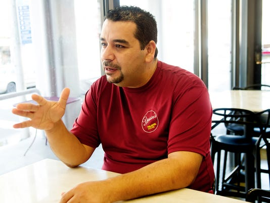 Syrian refugee Yassin Terou, owner of Yassin's Falafel House