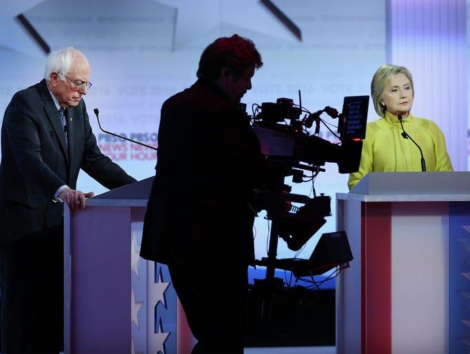 Vermont Sen. Bernie Sanders and Hillary  Clinton participate