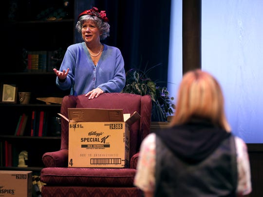 """Nancy Ernst, playing Fanny Church, talks with Mary Magiera, playing her daughter Margaret """"Mags"""" Church, during a rehearsal for """"Painting Churches"""" Tuesday at UW-Fox Valley in Menasha. The production is a collaboration between Attic Theatre and the Fox Valley Memory Project."""