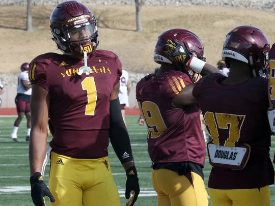 Arizona State wide receiver N'Keal Harry, 1, stands tall at Tuesday's practice at the Socorro Student Activities Complex.