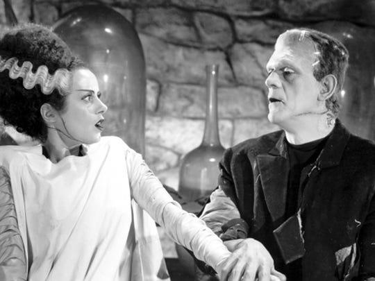 "Elsa Lanchester, Boris Karloff in the 1935 film ""Bride of Frankenstein"""