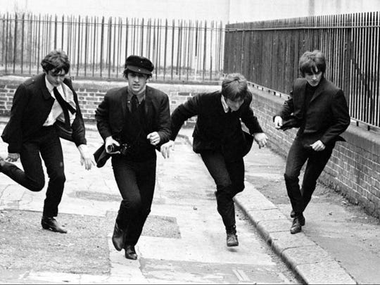 "The lads in ""A Hard Day's Night."""